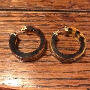 Brown & gold hoop earrings